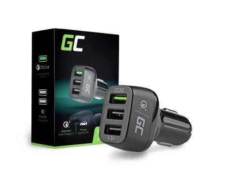 Cargador de coche 3 USB con carga rápida Green Cell