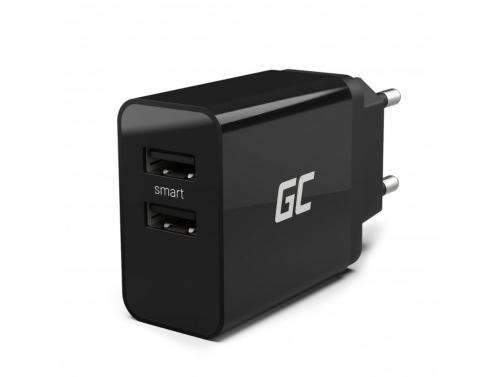 Cargador universal Green Cell ® con función de carga rápida 2 puertos USB