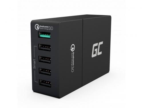 Cargador universal Green Cell ® con función de carga rápida, 5 puertos USB, QC 3.0