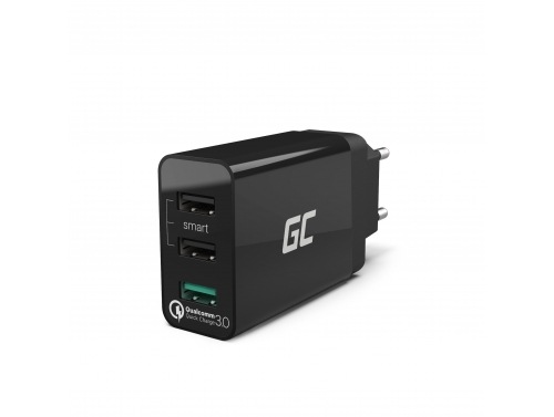 Cargador universal Green Cell ® con función de carga rápida 3 puertos USB, QC 3.0