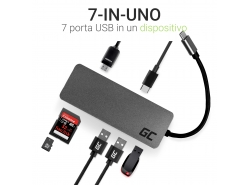HUB Green Cell Adapter USB-C 7 in 1 (USB-C, USB 3.0, 2xUSB 2.0, HDMI 4K, microSD, SD) mit Power Delivery und Samsung DeX