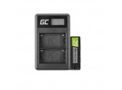 Green Cell ® Akku NP-500 und Ladegerät BC-V615 für Sony A58, A57, A65, A77, A99, A900, A700, A580