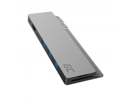 Green Cell HUB GC Connect60 8w1 (Thunderbolt 3, USB-C, HDMI, 3x USB 3.0, SD, microSD) para MacBook Pro 13 / 15 2016 - 2020
