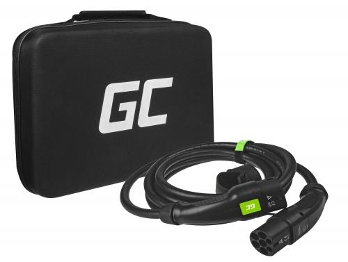 Cable de carga Green Cell GC Tipo 2 para cargar EV Tesla Leaf Ioniq Kona E-tron Zoe 22kW 5 metros con estuche
