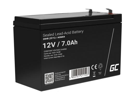 AGM Batería Gel de plomo 12V 7Ah Recargable Green Cell para UPS y sistemas de emergencia