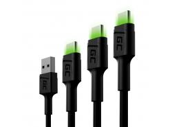 Set 3x cable USB Green Cell GC Ray - USB-C 30cm, 120cm, 200cm, LED verde, carga rápida Ultra Charge, QC 3.0