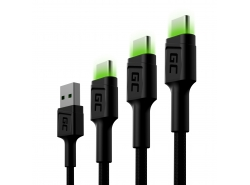 Set 3x Green Cell GC Ray USB-C Cable 30cm, 120cm, 200cm con retroiluminación LED verde, carga rápida UC, QC 3.0