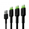 Set 3x Green Cell GC Ray USB-C 120cm Cable con luz de fondo LED verde, carga rápida Ultra Charge, QC 3.0