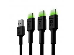 Juego de 3 cables USB Green Cell GC Ray - USB-C de 200 cm, LED verde, carga rápida Ultra Charge, QC 3.0