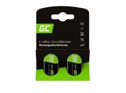 Baterías 2x C R14 HR14 Ni-MH 1.2V 4000mAh Green Cell