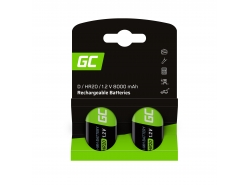 Batería 2x D R20 HR20 Ni-MH 1.2V 8000mAh Green Cell