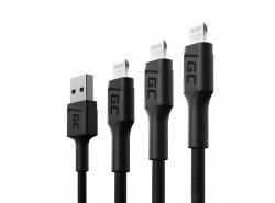 Juego de 3 cables USB Green Cell GC Ray - Lightning de 30 cm, 120 cm, 200 cm para iPhone, iPad, iPod, LED blanco, carga rápida