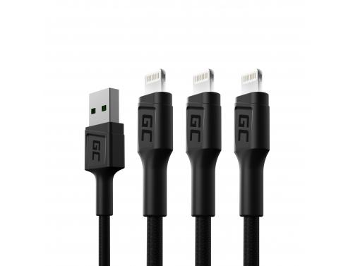 Set 3x Green Cell GC Ray USB Cable - Lightning 120cm para iPhone, iPad, iPod, LED blanco, carga rápida