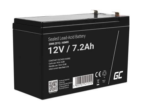 Green Cell® AGM Bateria 12V 7.2Ah Gel Bateria hermetica sistemas de alarma juguetes eléctricos para niños