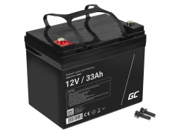 AGM Batería Gel de plomo 12V 33Ah Recargable Green Cell para scooters y barcos de pesca