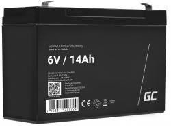 Green Cell® AGM Bateria 6V 14Ah Gel Bateria hermetica sistemas de alarma juguetes eléctricos para niños