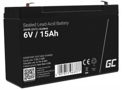 40e AGM Batería Gel de plomo 6V 15Ah Recargable Green Cell para la alarma y la iluminación
