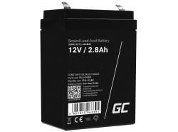 AGM Batería Gel de plomo 12V 2.8Ah Recargable Green Cell por gravedad y alarma