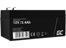 AGM Batería Gel de plomo 12V 3.4Ah Recargable Green Cell para cajas y mostradores