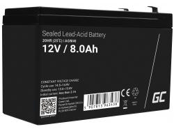 AGM Batería Gel de plomo 12V 8Ah Recargable Green Cell para UPS y sistemas de emergencia