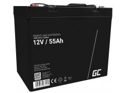 AGM Batería Gel de plomo 12V 55Ah Recargable Green Cell para el barco y el bote