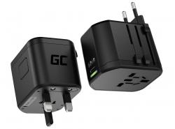 Green Cell GC TripCharge PRO Adaptador de Viaje Universal con USB-A Ultra Charge y USB-C Power Delivery 18W para UK/US/AU/EU