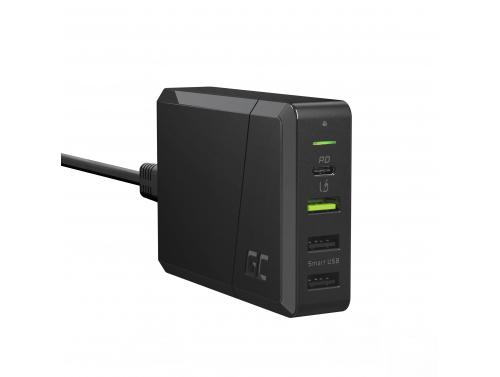 Fuente de alimentación Green Cell 75W Cargador de 4 puertos con USB-C PD para cargar Ultrabooks y tecnología Ultra Charge