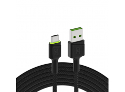 Cable Green Cell Ray USB-A - USB-C LED verde de 1,2 m con soporte para carga rápida Ultra Charge QC3.0