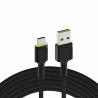 Cable Green Cell Ray USB-A - USB-C LED verde de 1,2 m con soporte para carga rápida Ultra Charge QC3.0