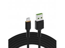 Cable Green Cell Ray USB-A - microUSB Orange LED 200cm con soporte para carga rápida Ultra Charge QC3.0