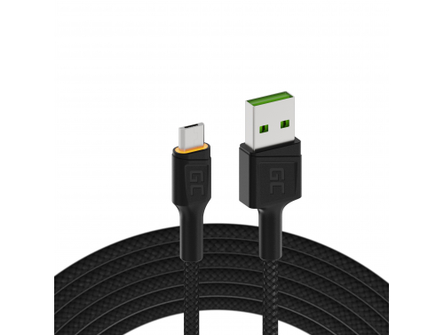Cable USB Green Cell GC Ray - Micro USB 200cm, LED naranja, carga rápida Ultra Charge, QC3.0