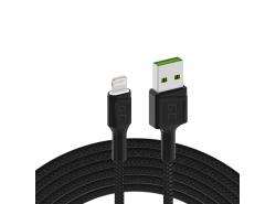 Cable Green Cell Ray USB-A - Lightning White LED 200cm con soporte para carga rápida Apple 2.4A