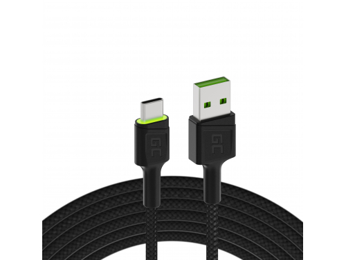 Cable USB Green Cell GC Ray - USB-C 200cm, LED verde, carga rápida Ultra Charge, QC 3.0