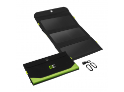 Cargador solar Green Cell GC SolarCharge 21W - Panel solar con función Powerbank de 10000 mAh USB-C Power Delivery 18W USB-A QC