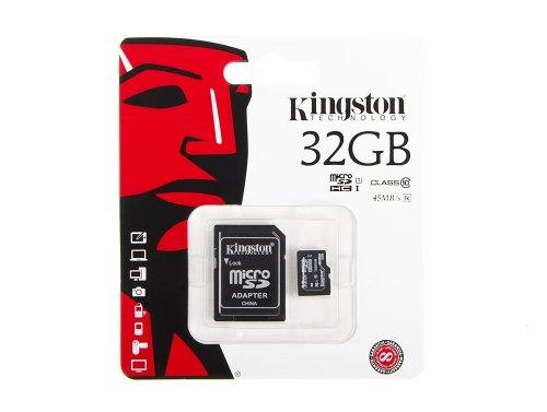 Kingston 32GB tarjeta de memoria microSD 45MB / s + adaptador SD